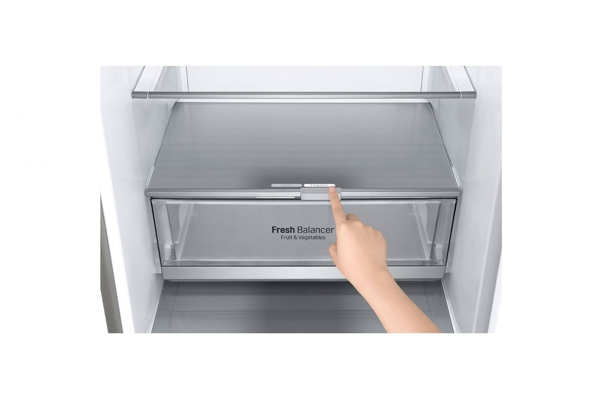 LG Refrigerator GBB72SADFN Free standing, Combi, Height 203 cm, A+++, No Frost system, Fridge net capacity 277 L, Freezer net ca